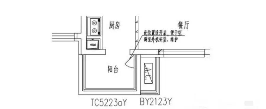设置开启位置时应考虑室内吊顶,下返梁(见图 7),空调室内机,厨房操作